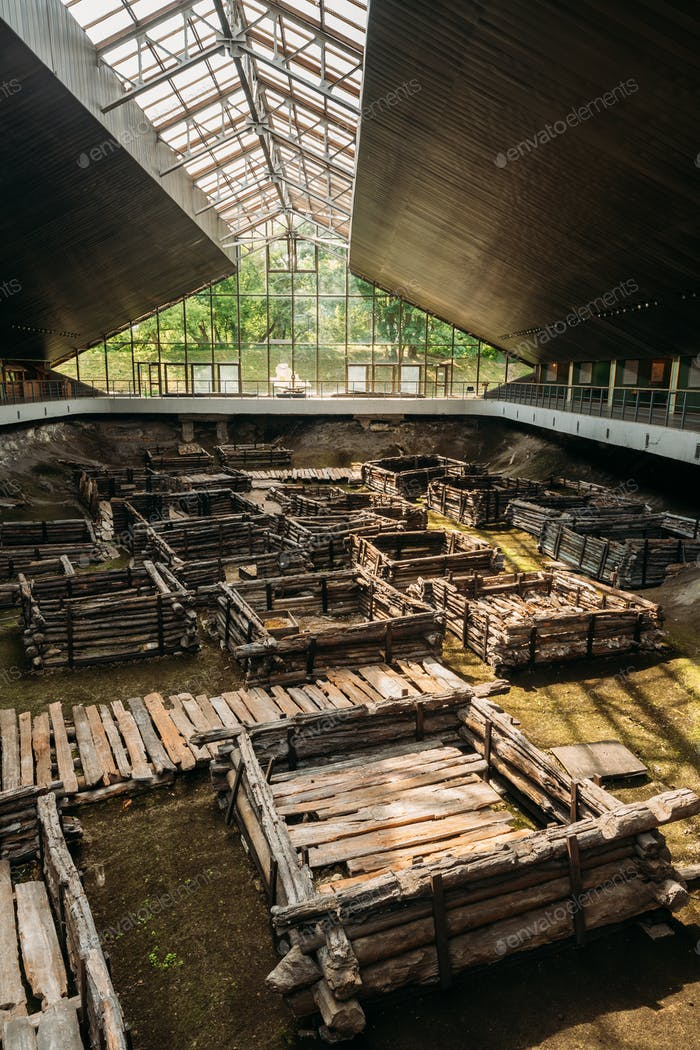 Brest, Belarus. Archaeological Monument Of East Slavic Wooden To