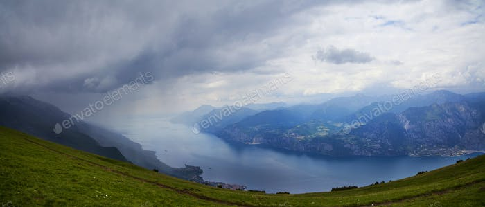 View of Garda Lake from the top of Monte Baldo