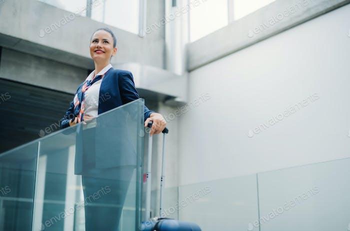 Portrait of attractive flight attendant standing on airport