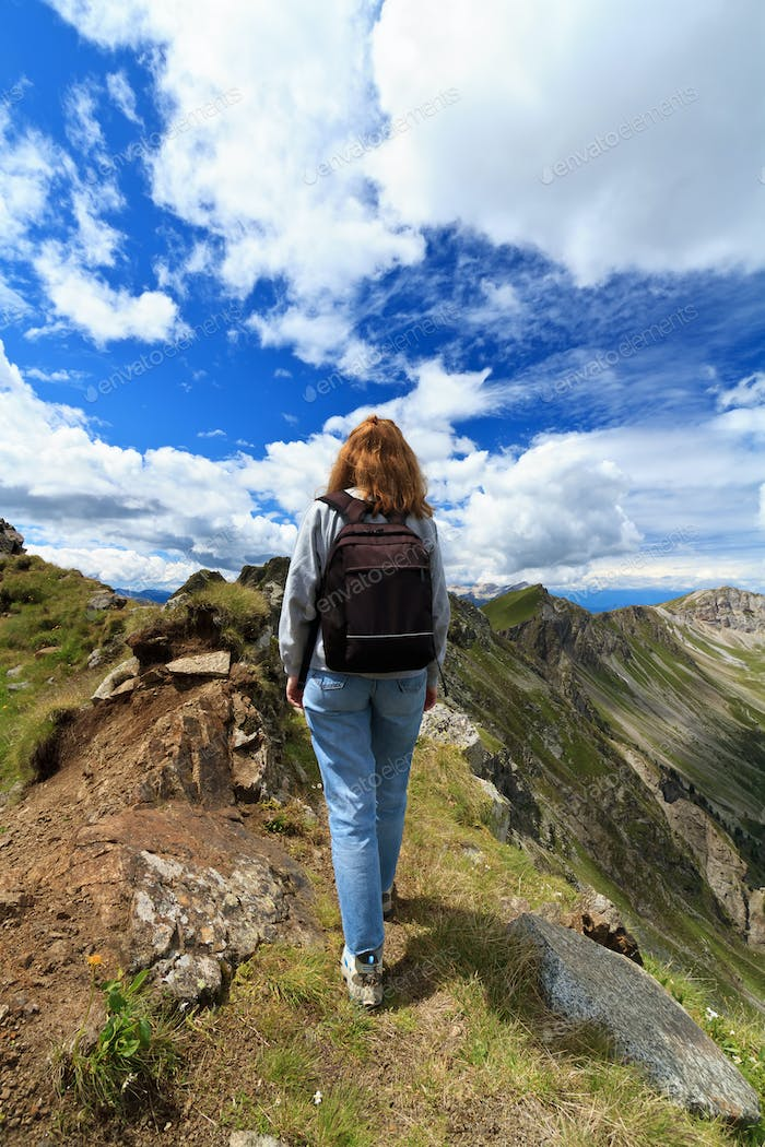 female hiker on Dolomites