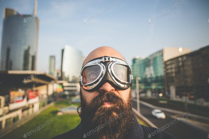 bearded man with glasses aviator