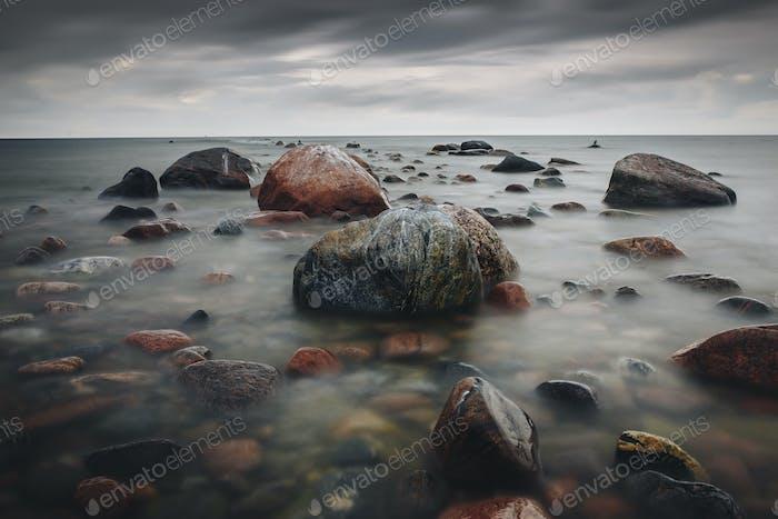 Long Exposure shot of Rocky Baltic sea shoreline in Estonia