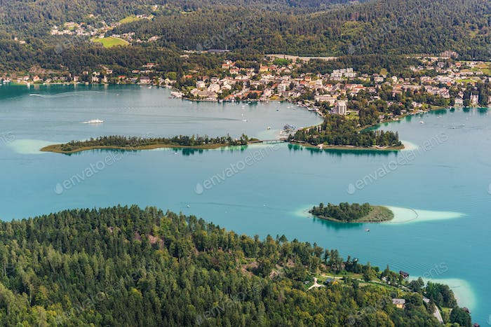 View of islands on the Lake Worthersee, travel destination