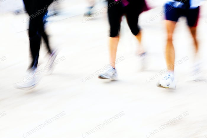 Runners legs with panning blur