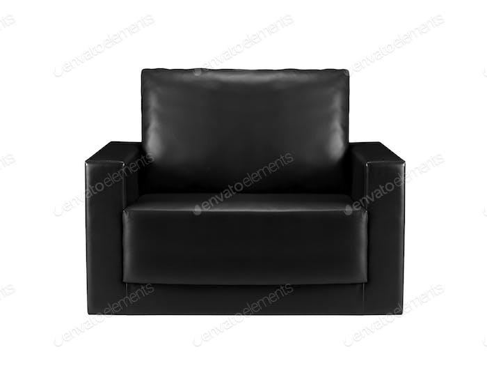black leather sofa isolated
