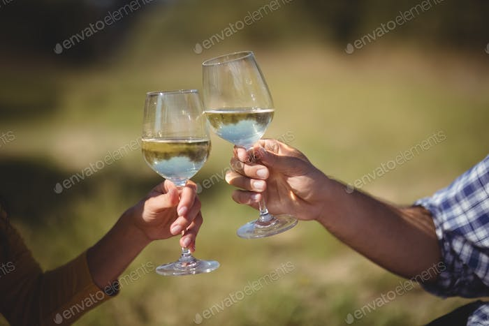 Cropped image of couple toasting wineglasses