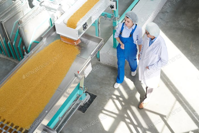 Two  Workers at Food Factory Background