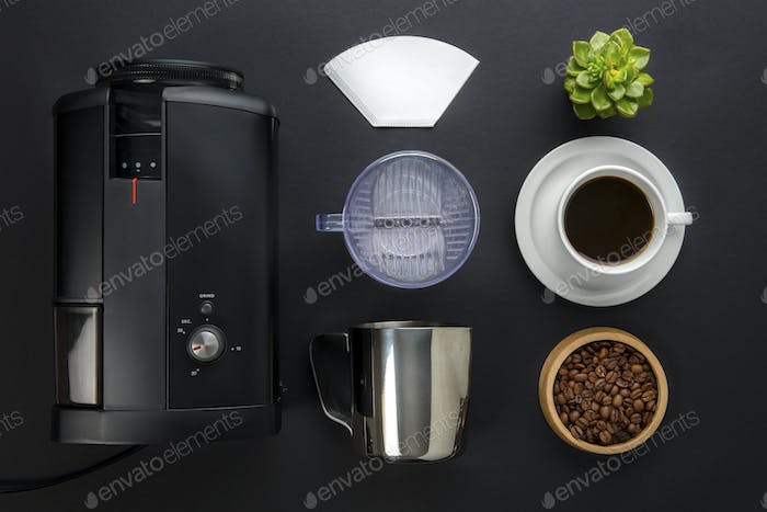 Coffee Maker With Filter And Cup On Gray Background