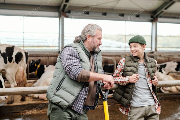Discussing livestock with teenage son