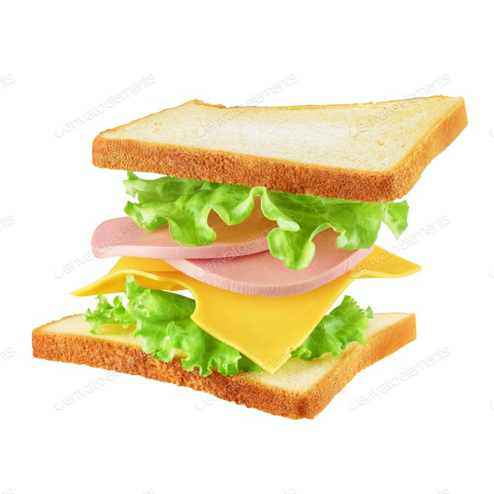 Flying sandwich isolated