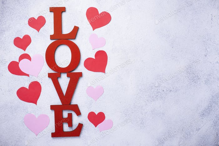 Valentines Day background with letters LOVE
