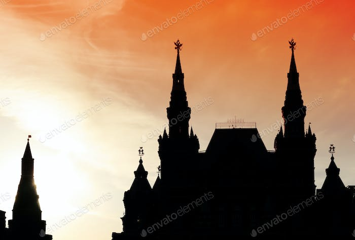 silhouette of Historical museum, Red square, Moscow, Russia