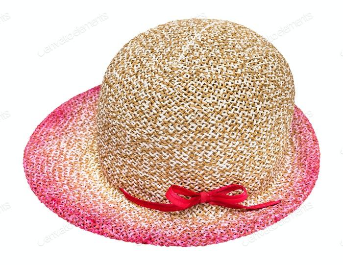 side view of straw hat with pink narrow brim