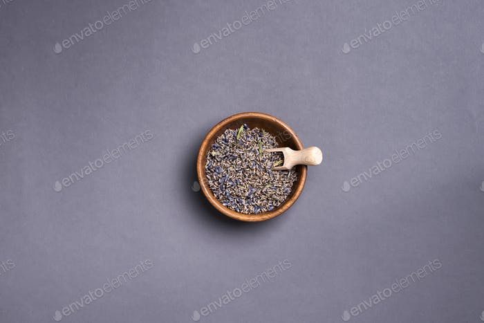 Dry lavender tea on plate,