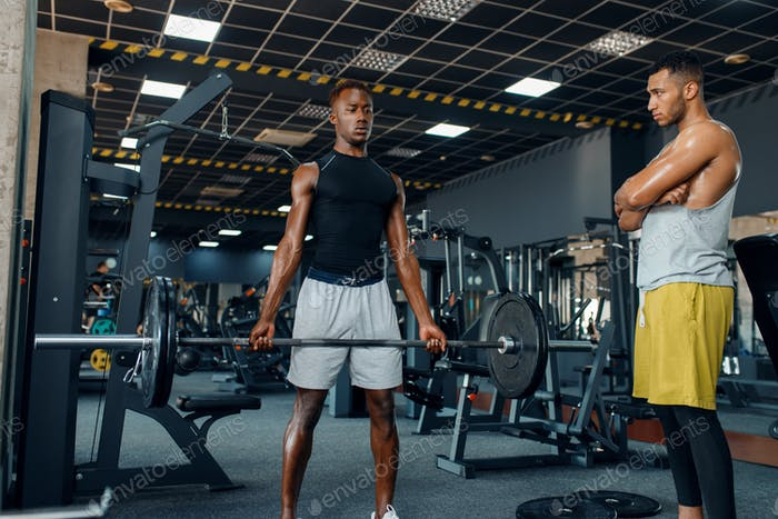 Athlete and his trainer on training in gym