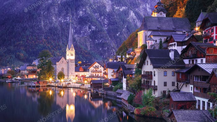 Classic postcard view of famous Hallstatt lakeside town reflecti