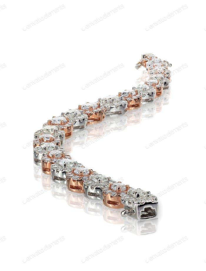 Schlangen-Armband aus Roségold mit Diamanten