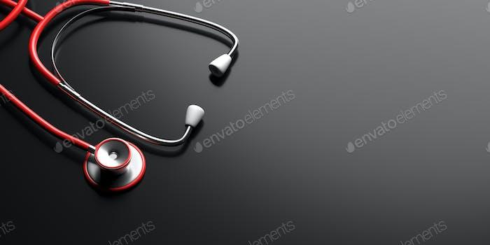 Stethoscope on black background. Health checkup cardio diagnosis concept. 3d illustration