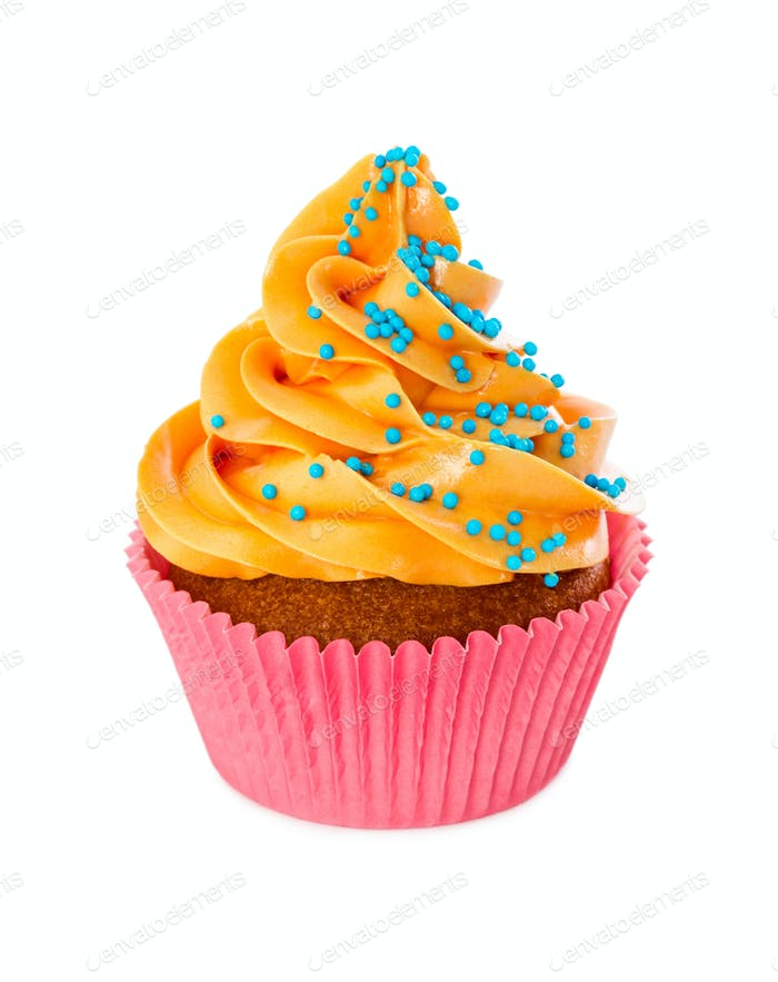 Cupcake with yellow cream and blue sprinkles