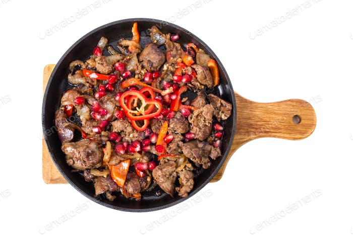 Stewed chicken livers with paprika.