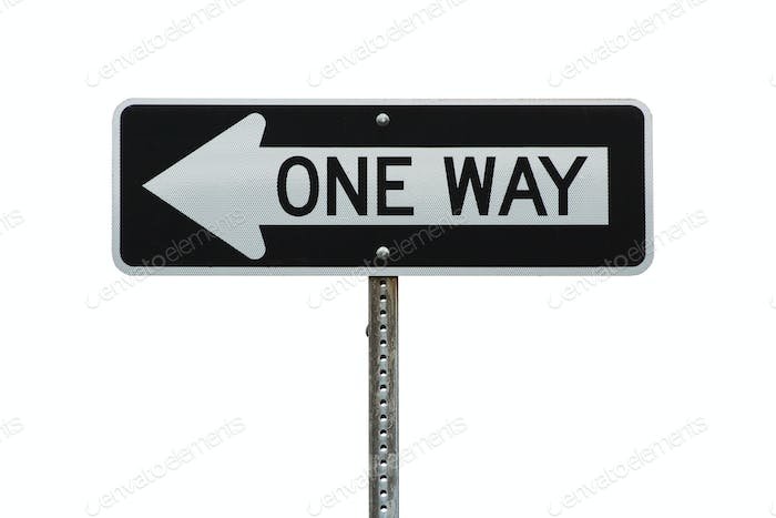 Isolated one way sign