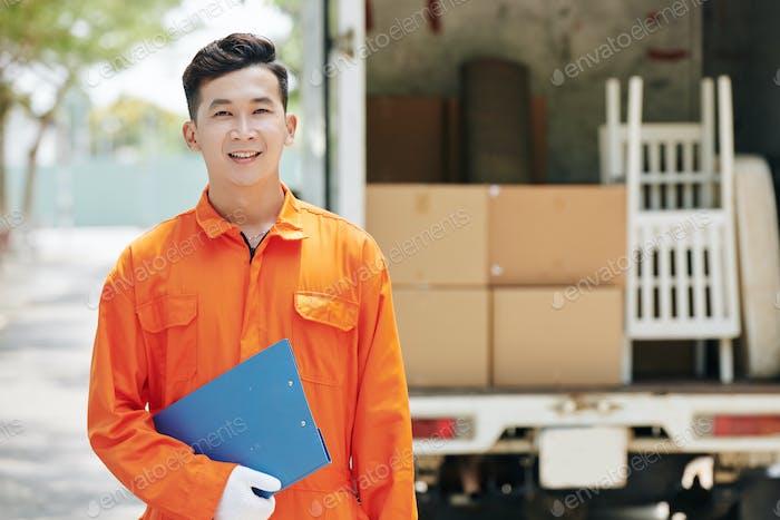 Moving Man Wearing Uniform Portrait