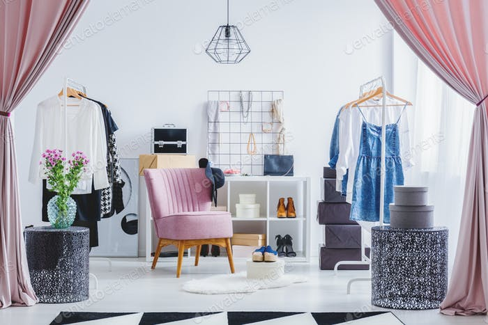 Pink chair in dressing room