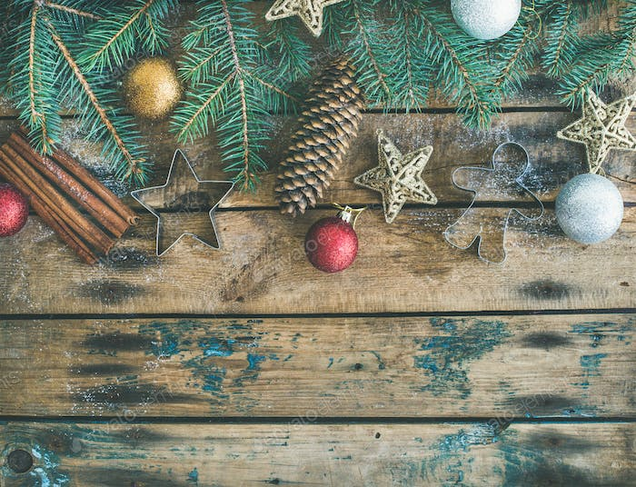 Christmas, New Year holiday flat-lay over wooden background, copy space