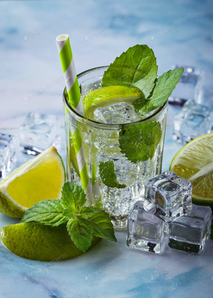 Cocktail mojito with mint, lime and ice