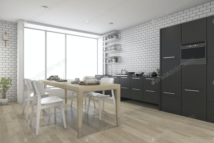 3d rendering contemporary wood kitchen with black built in