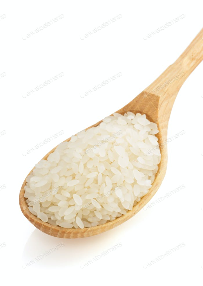 rice in spoon on white background