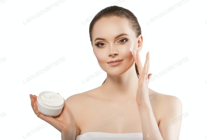 Woman face cream, happy young female cosmetic beauty, pure and fresh healthy skin. Studio shot.