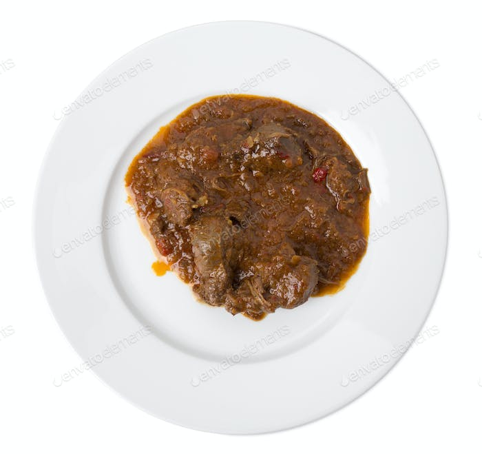 Roasted meat with gravy.