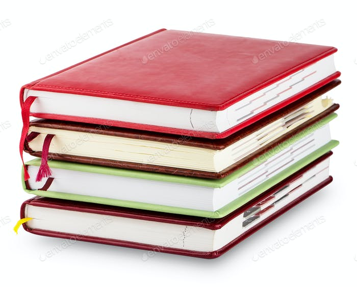Stack of colorful diary with bookmarks