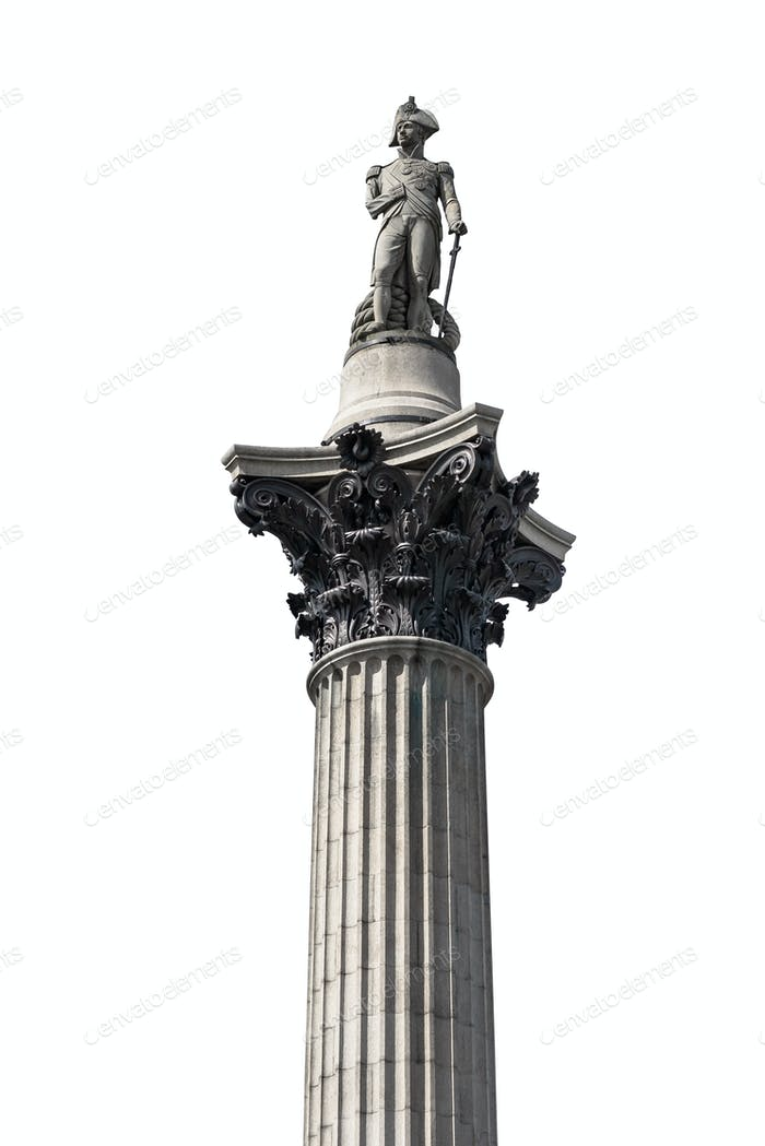 Nelsons Column isolated on white background
