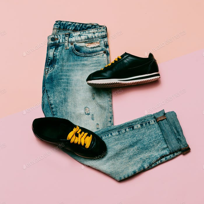 Jeans and sneakers. Urban outfit. Top view. Minimal design