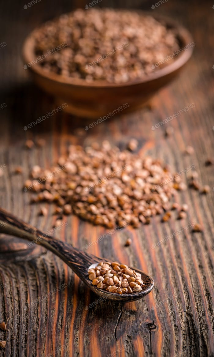 Buckwheat seeds in spoon