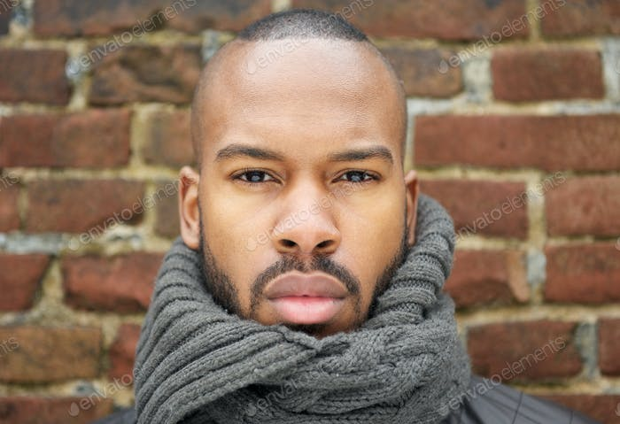 Portrait of a handsome african american man with scarf