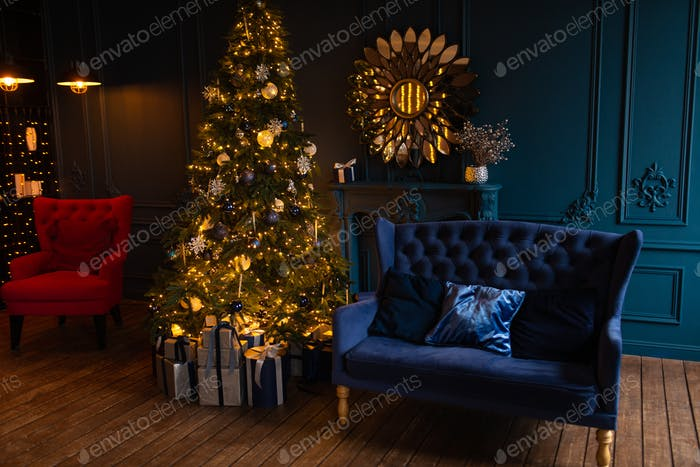 Christmas tree and sofa with decor