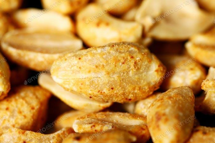 Closeup of fried peanuts