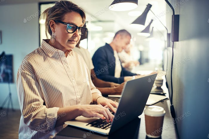 Mature female designer working with a laptop in an office