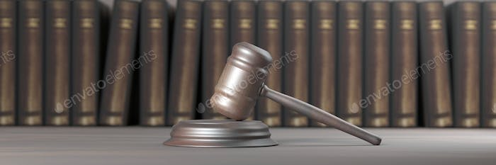 Judge gavel and books. Law college, judge office. 3d illustration