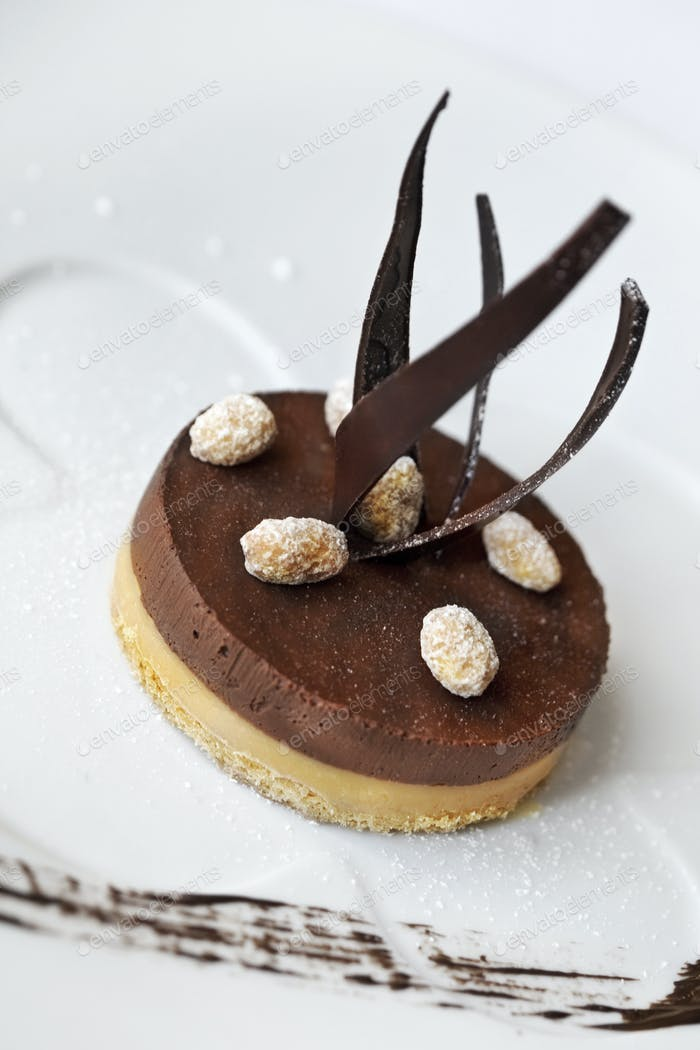 Chocolate pastry on a plate
