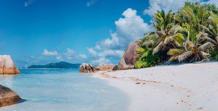Spektakulärer Strand Anse Source d'Argent auf der Insel La Digue auf den Seychellen. Paradies Entspannung