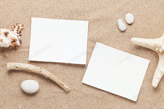Travel vacation photo frames on beach sand