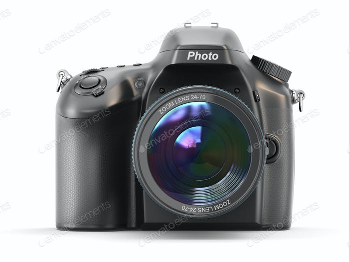 Digital photo camera on white isolated background.