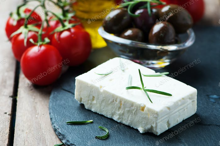 Greek cheese feta with rosemary and olives