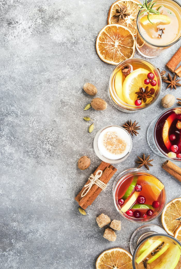 Various autumn or winter seasonal alcohol hot cocktails