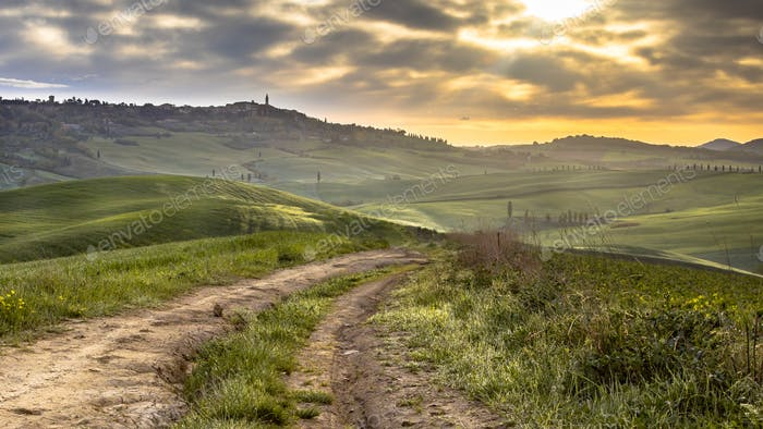 Dirt road in tranquil landscape Tuscany