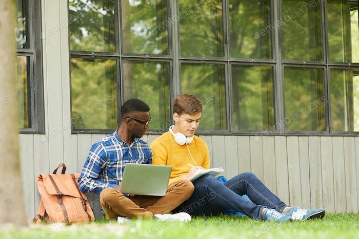 Students Doing Homework in Campus